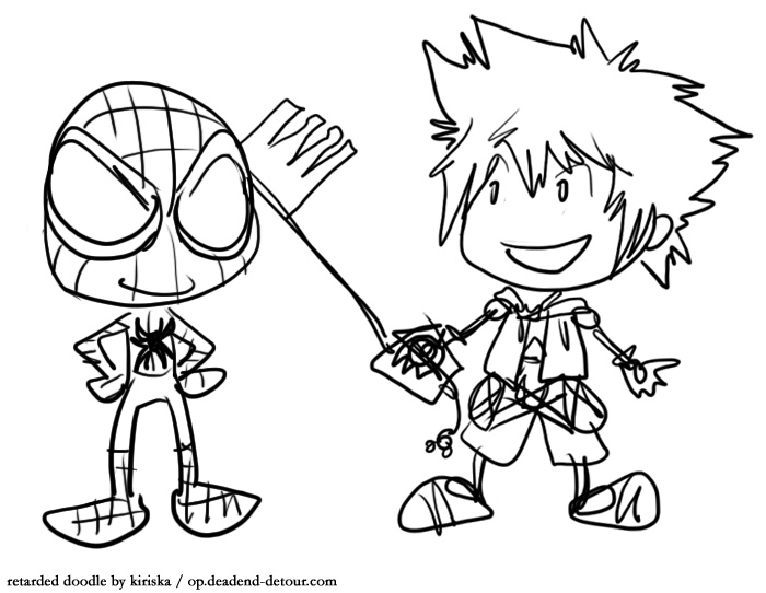 Sora will team up with Spidey and save Manhattan from the Heartless Croc. Or something.